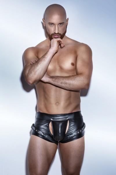 schwarze Powerwetlook Shorts H050 Harness Style