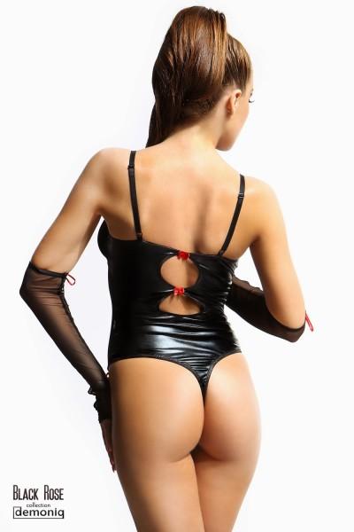 schwarzer Wetlook-Body Hannah von Demoniq