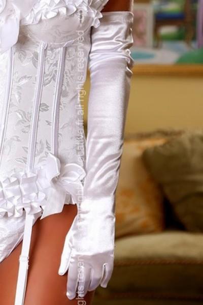 weiße lange Satin Handschuhe von Provocative Dessous